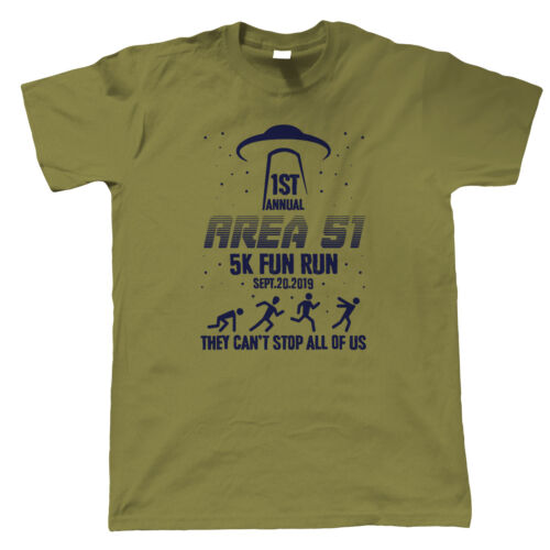 Mens T-Shirt Sci-Fi Flat Earth UFO Aliens Gift for Him Storm Area 51 Fun Run