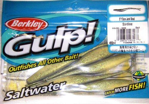 "BERKLEY GULP SALTWATER Fishing Lure 5/"" JERK SHAD sardine GSJS 5-SDN Sardine"