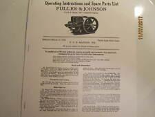 1928 3 12hp Nc Fuller Johnson Gas Engine Operating Instructionsparts Manual