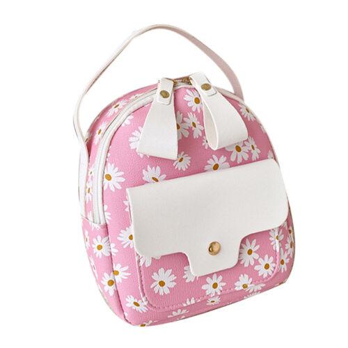Women Backpack Faux Leather Marguerite Daisy-Flower Print Shoulder Bag Fashion