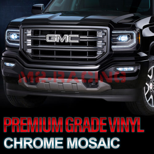*Chrome Pattern GMC Emblem Overlay Vinyl Wrap Kit Sticker Decal Front Rear