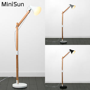 Scandinavian Style Adjustable Wooden Floor Standing Lamp Grey