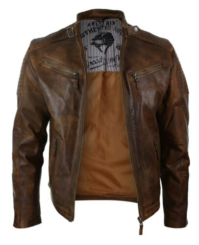 Mens Slim Fit Real Leather Vintage Retro Tan Brown Washed Biker Jacket Casual