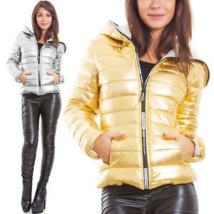 quality design f230f fd8ce Dettagli su Piumino donna imbottito giubbotto trapuntato cappuccio oro  argento zip JL-8004