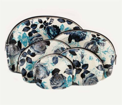 Set of 5 piece rose flower design make-up bag Purse sizes range from 9 to 20cm