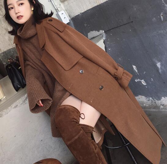Women Windbreaker Overcoat Mid Long Lapel Waist Belt Formal Loose Warm Autumn