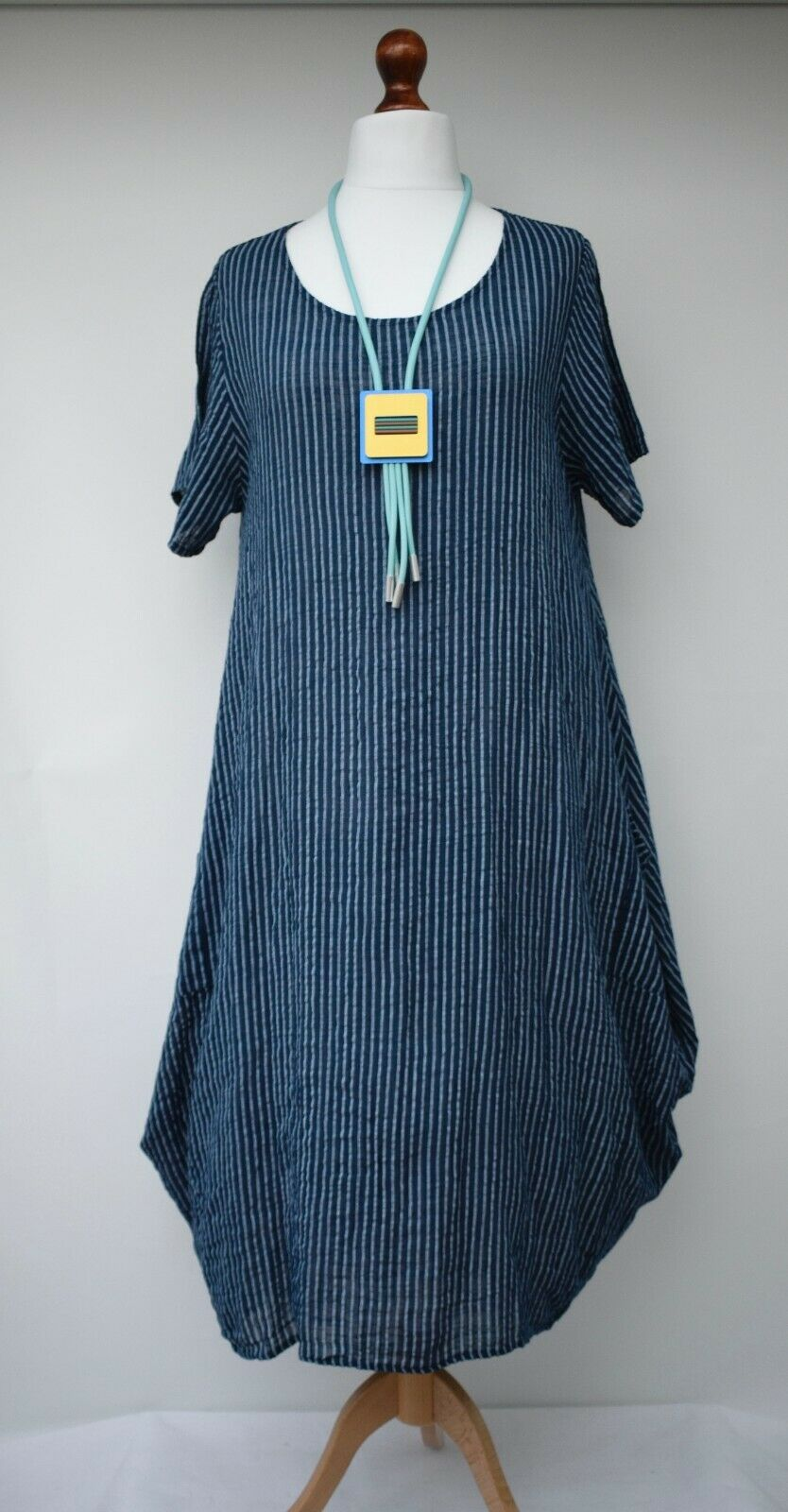 LINEN/COTTON OVERSIZED STRIPED 2 POCKETS LONG DRESS**NAVY/BLUE**BUST UP TO 46""