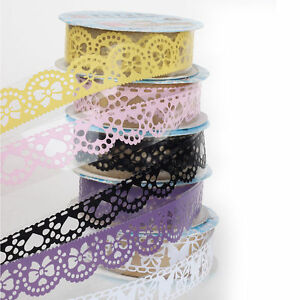 Washi-Paper-Lace-Roll-DIY-Decorative-Sticky-Paper-Masking-Tape-Self-Adhesive-5pc