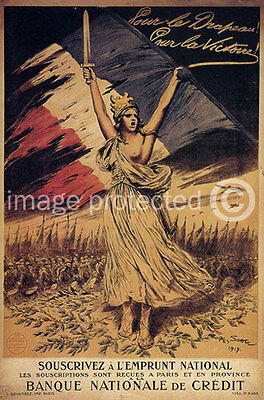 Vintage WW2 French 11x17 Poster For The Flag For Victory