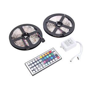 10M-600LEDS-3528-SMD-RGB-2X-5M-LED-light-strip-44-Key-IR-Remote-Controller-FG