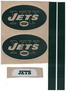 New York Jets FULL SIZE FOOTBALL HELMET DECALS W//STRIPES /& BUMPERS GLITTER