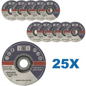 25-DISQUES-TRONCONNER-125-x-1-MM-MEULEUSE-TRONCONNEUSE-ACIER-METAL-INOX