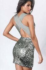 Pailettenkleid Kleid sexy Silber Partykleid Abendkleid kurz Cocktailkleid 34 36