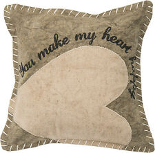 YOU MAKE MY HEART HAPPY Primitives by Kathy Valentine's Day Pillow
