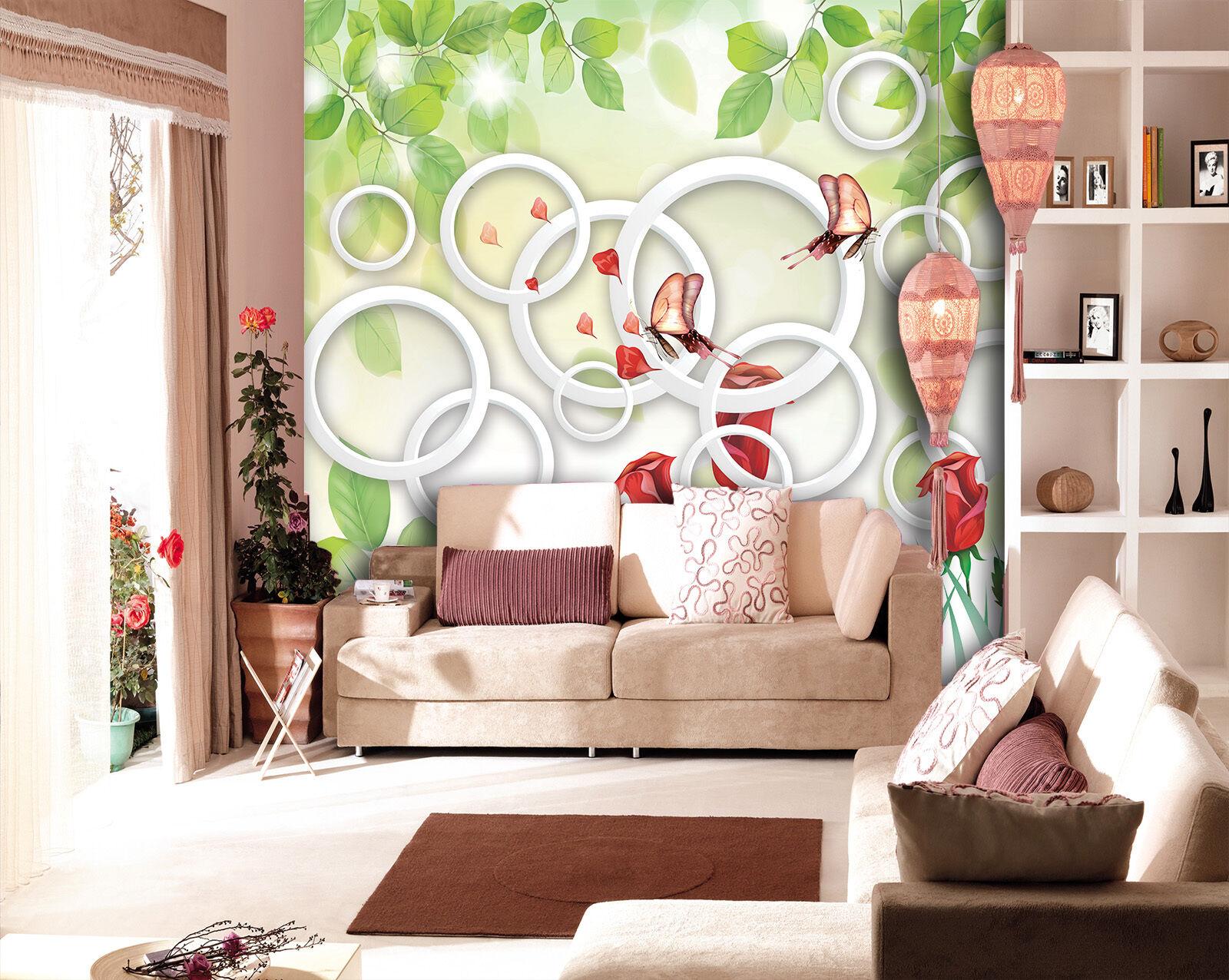 3D Blätter, Rosen, Kreis 233 233 233 Fototapeten Wandbild Fototapete BildTapete Familie 0c4e4a