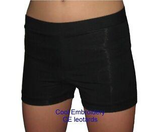 Black-Nylon-spandex-or-lycra-gymnastics-dance-aerobics-shorts-shiny-or-matt