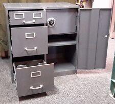 Vintage Cole Steel Equipment Metal Filing Cabinet w/ 3 Drawers, Shelves & Safe