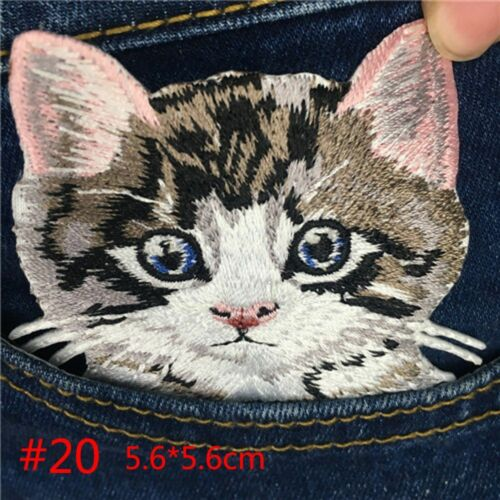 Iron On Badge Stickers Embroiderd Applique Backpack Decoration Cat Patch