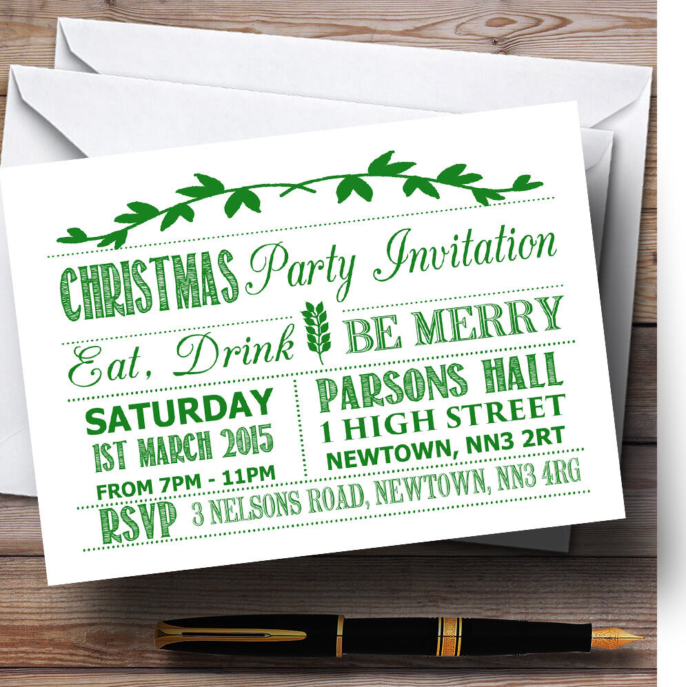 Old Vintage Grün & rot Personalised Christmas Party Invitations