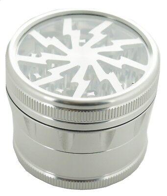 """2.4/"""" 4 Piece Aluminum Lightning Design Clear Top Grinder Gold Color 14763C"""