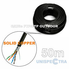 50m CAT5e FTP/STP SHIELDED OUTDOOR Network Cable External BLACK - SOLID COPPER