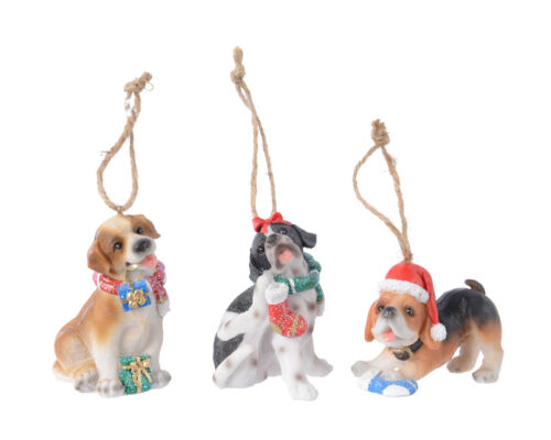 3 x chien Hanging Christmas Tree Baubles Décorations