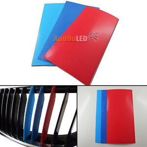 One Set 4d Carbon Fiber M Colored Stripe Decal Sticker Fit Bmw M3 M6 E46 E39 E60