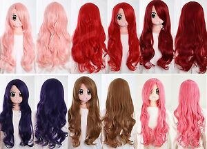 W-18-medio-largo-Pelo-70cm-COSPLAY-Peluca-Resistente-al-Calor-Rizos-Manga-Hair