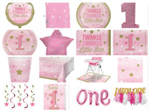 One-Little-Star-Girls-1st-First-Birthday-Pink-Party-Cups-Plates-Napkins-Invites