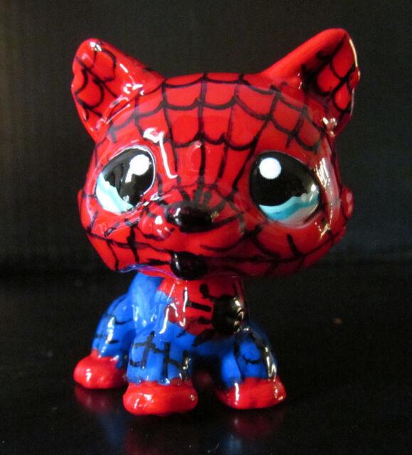Littlest pet shop tan dog husky # 1012 spiderman superhero custom hand painted