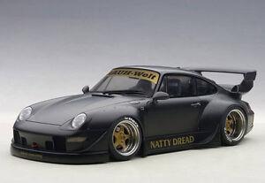 Autoart-Porsche-RWB-993-1-18-Model-Car-78154-Matt-Black-with-Gold-Wheels