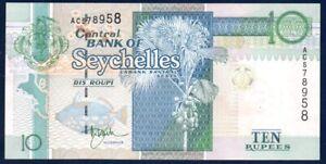 P-36a UNC Seychelles 10 rupees ND 1998