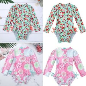 US-Baby-Girl-Long-Sleeve-Swimwear-Floral-Ruffle-Swimsuit-Bathing-Suit-Rash-Guard