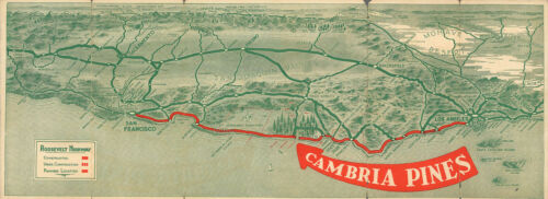 1927 Pictorial Tourism Map of Cambria Pines California Wall Art Poster Print