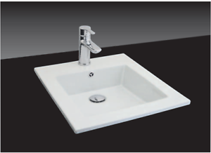 Linear Flat Inset Basin 1 Tap Hole Brand New White
