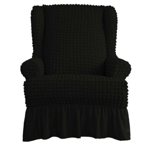 One-piece Wingback Armchair Cover Sofa Couch Slipcover with Ruffle Skirts