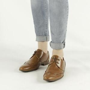 Shumo-Hendrix-Homme-Formel-Bureau-Smart-Style-Bout-D-039-Aile-a-Lacets-Derby-Chaussures-Tan