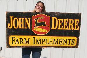 "Large Vintage John Deere Farm Implements Tractor Gas Oil 48"" Metal Sign"