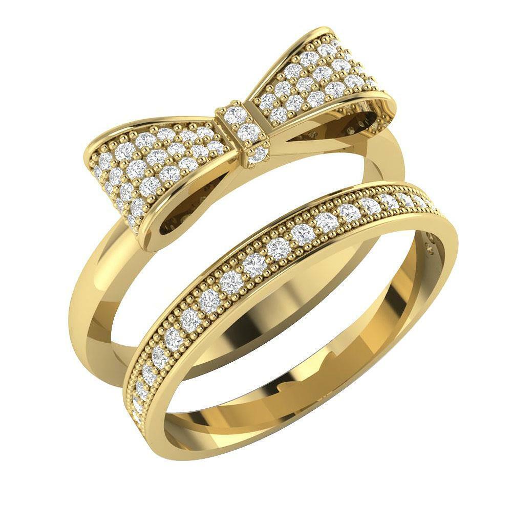 Bridal Engagement Ring Natural Diamond SI1 G 0.45 Ct 14K Yellow gold Prong Set