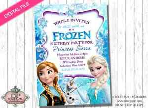 Digital File FROZEN Birthday Party Invitation Elsa Anna Olaf