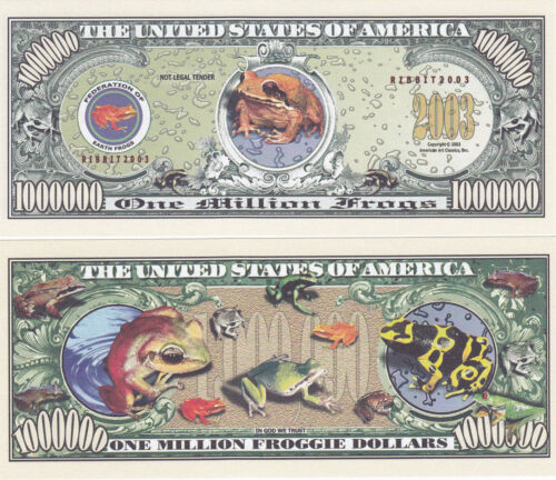 100 Frogs Froggie Tropical Ribbit Million Dollars Novelty Currency Bill #156
