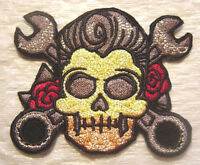 Rock-a-billy Detailed Tattoo Style Skull & Wrenches - 4 X 3.25 - Free Shipping