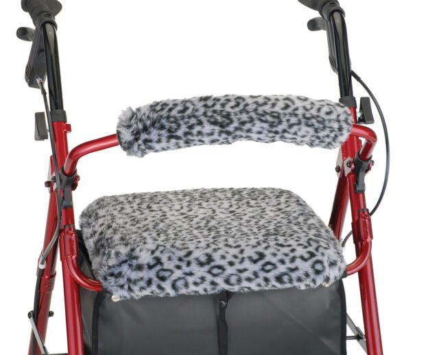 Snow Leopard Backrest and Seat cover for rollator or walkers free shipping