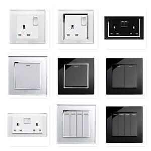 RetroTouch-Black-White-Glass-Rocker-Light-Switches-Plug-Sockets-Single-Double