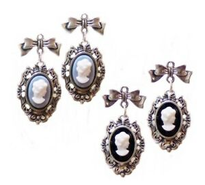 Earrings-Blue-and-White-cameo-silver-bow-clip-on-or-pierced-Vintage-style