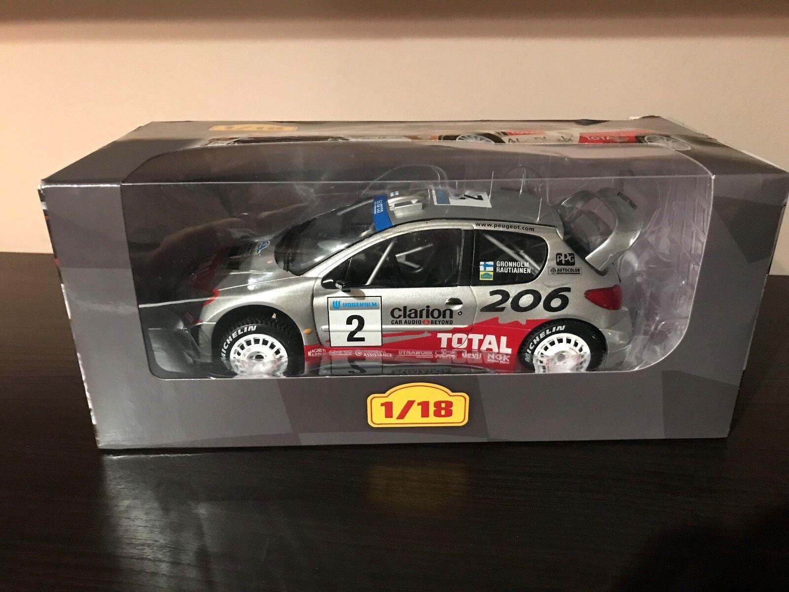 PEUGEOT 206 WRC 2002 M. M. M. GRÖNHOLM RALLY RALLYE IXO ALTAYA 1/18 (EB28) | Outlet  55a162
