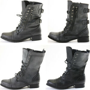 Ladies-Womens-Girls-Flat-Army-Combat-Biker-Lace-Up-Military-Ankle-Boots-Size-New
