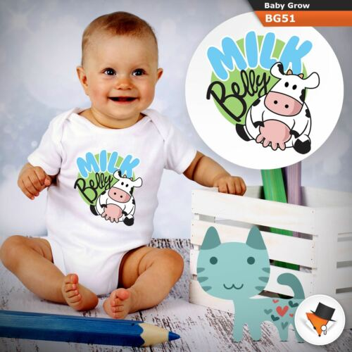 MILK BELLY FUNNY CUTE COW BABYGROW BABY GROW  ALL SIZES 0-24 months ^