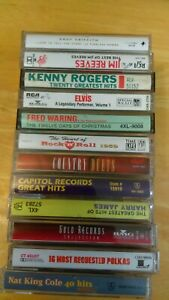 Lot-of-12-Nat-King-Cole-Kenny-Rogers-Elvis-Country-Polka-etc-Cassette-Tapes