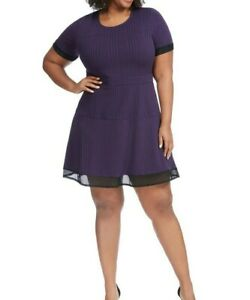 NY-Collection-Mesh-Detail-Jersey-Fit-And-Flare-Dress-In-Purple-Size-1X
